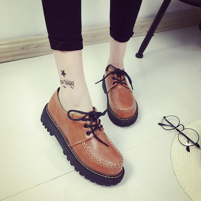 Creepers Women Shoes 2017 Spring Fashion Lace-Up Platform Shoes Muffin Heavy-bottomed Women Flats Ladies Casual Leather Shoes new women shoes fashion genuine leather spring autumn casual shoes lace up loafers shoes heavy bottomed platform white shoes
