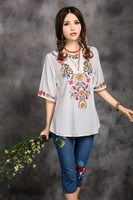 2014 Hot Sale Vintage Ethnic Floral EMBROIDERED BOHO Mexican Peasant Tunic Blouse Gypsy DRESS Free Size