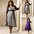 Women Sexy Lace Mesh Plus Size V-neck Party Wrapped Chest Printing Dress