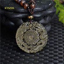 KYSZDL Natural Gold Obsidian Dragon Phoenix gossip pendant fashion jewelry gifts crystal necklace