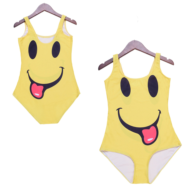 21deb0fc51f61 Cute Smiley Face 3d Print One Piece Swimwear Ladies Backless Monokinis Funny  Women Swimsuits Beach Sport Bodysuits Yellow