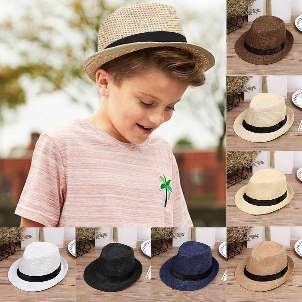 Children Kids Summer Beach Straw Hat Jazz Panama Trilby Fedora Hat Gangster Cap Outdoor Breathable Hats Girls Boys Sunhat