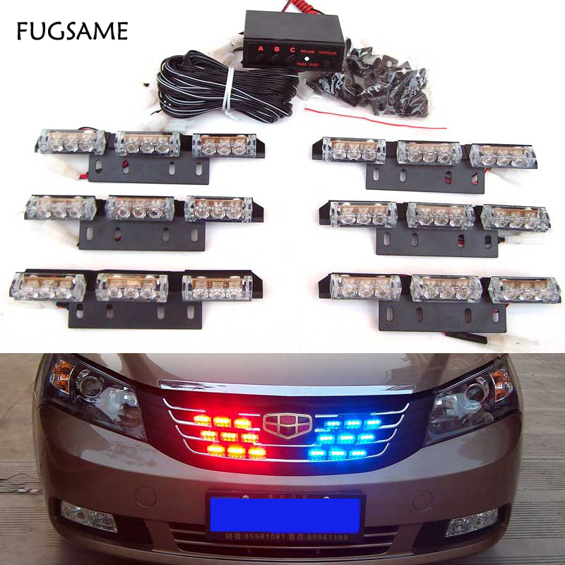 FUGSAME 54led Red Blue White Green Amber Cars Truck Led Flash Strobe Lights 12V Car Truck Grill Emergency Flash Strobe Lights автокресло peg perego автoкpecлo viaggio 1 duo fix k sand