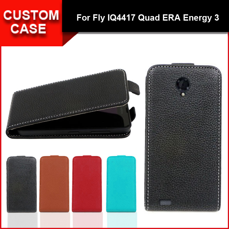 Luxury flip vertical cover bag flip up and down PU Leather Case for Fly IQ4417 Quad ERA Energy 3, free gift