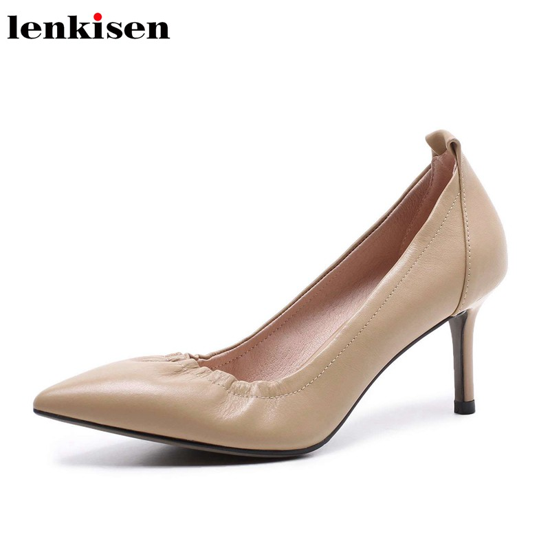 Lenkisen pure and fresh style all match pointed toe spring shoes high heels cow leather solid