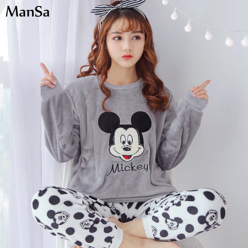 Coral Fleece   pajama     set   Winter Flannel Women   Pajamas   2018 Warm cartoon Pyjama Female Winter Thick Pijama mujer Women sleepwear