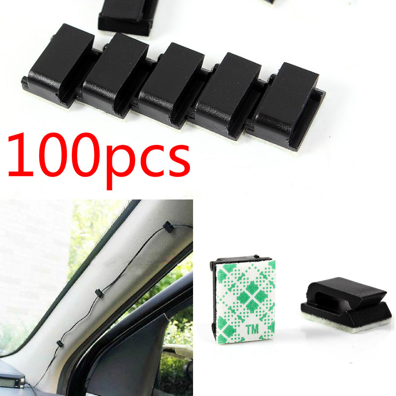 100pcs <font><b>Adhesive</b></font> <font><b>Car</b></font> <font><b>Cable</b></font> <font><b>Clips</b></font> <font><b>Cable</b></font> Winder Drop Wire Tie Fixer Holder Cord Organizer Management Desk <font><b>Cable</b></font> Tie Clamps image