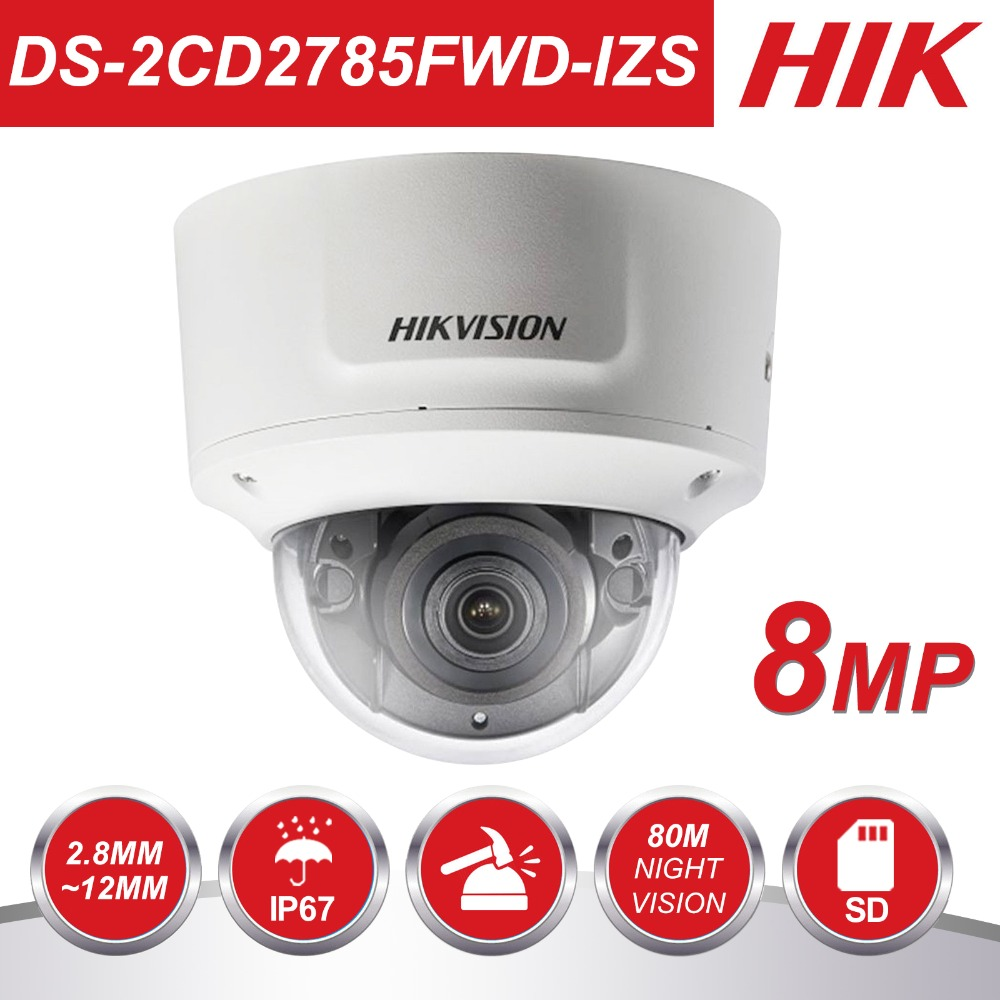 HIKVISION Vari-focal-focal 2.8-12mm DS-2CD2785FWD-IZS 8Megapixel Câmera Dome IP POE CCTV Câmera De Vigilância Por Vídeo H.265 IR 30m