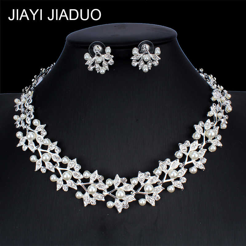 jiayijiaduo Imitation Pearl Necklace Earrings Silver Color Jewelry Set for Women Wedding Dress Accessories NE+EA