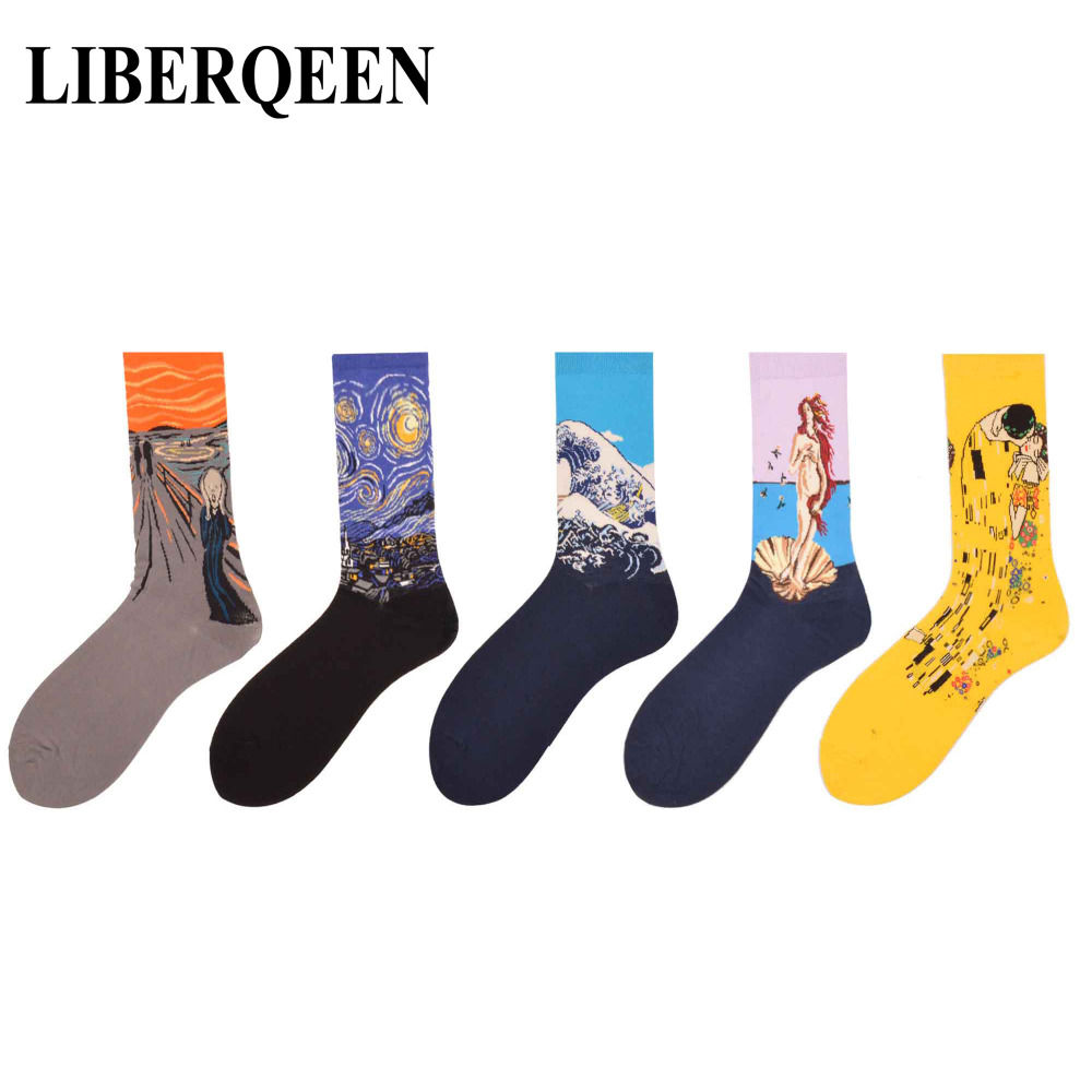 LIBERQEEN 5 pairs/lot Colorful Mens Funny Socks Famous Retro Painting Scream Starry Sky Pattern Casual Novelty Crew Streetwear
