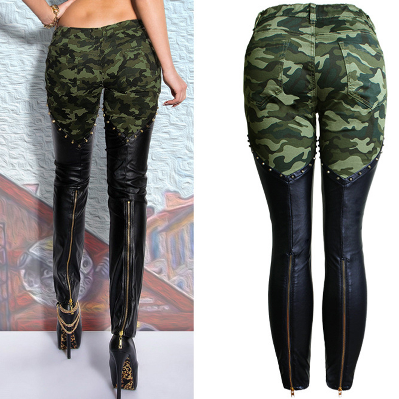 Biker Pant Pu Leather Military Army   Jeans   Women Motorcycle Trouser Spliced Pant With Zipper On Knee Boot Fitness skinny low   jean