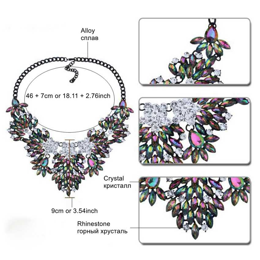 DiLiCa Women Fashion Pendants Necklaces Crysatl Geometric Charms Statement Bib Necklace Collares Party Costume Jewelry