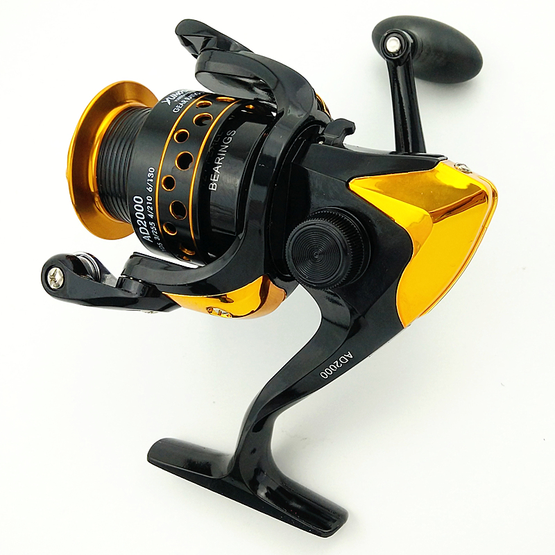 YUMOSHI <font><b>AD2000</b></font> spinning fishing reel metal spool fish wheel weight 262g Gear Ratio 5.5:1 BB 8+1 black gold reel left /right hand image