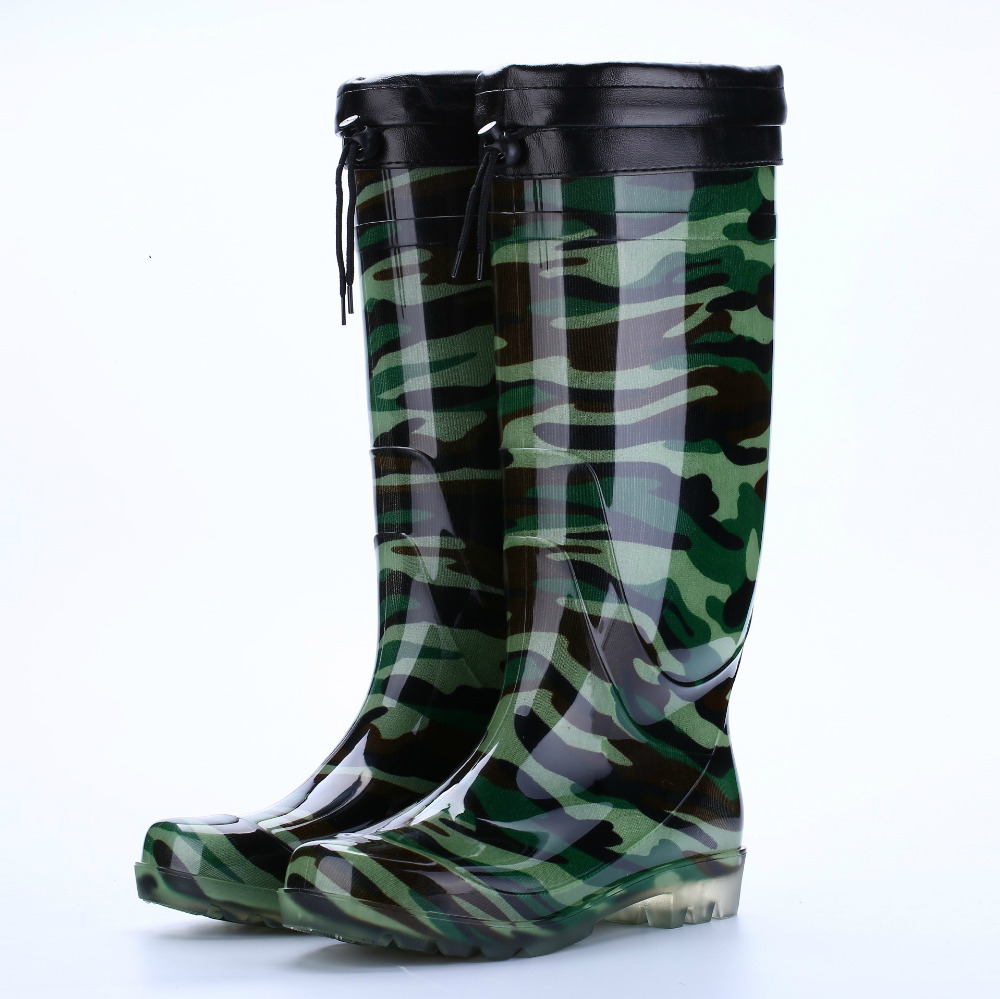 Men's Shoes Mens Fashion Tube Rain Boots Men Pvc Camouflage Wear Non-slip Rain Boots Mens Work Labor Insurance Shoes High Boots Wide Varieties Shoes