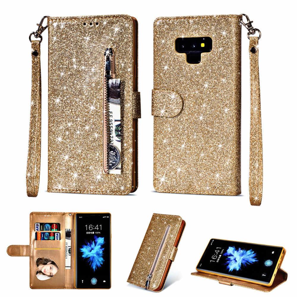 Чехол для телефона для Samsung Galaxy S6 S7 S8 S9 Plus Edge Note 8 9 с IMD Глянцевая искусственная кожа сумка на молнии Флип кошелек