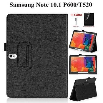 Funda de cuero PU funda para Samsung Galaxy Note 2014 Edition 10,1 P600 P605 para Samsung Tab Pro 10,1 T520 T521 T525 funda + película + bolígrafo