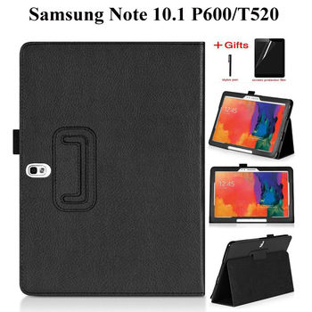 PU Deri Samsung kılıfı Galaxy Not 2014 Sürümü 10.1 P600 P605 Kapak Için Samsung Tab Pro 10.1 T520 T521 T525 Kılıf + Film + Kalem