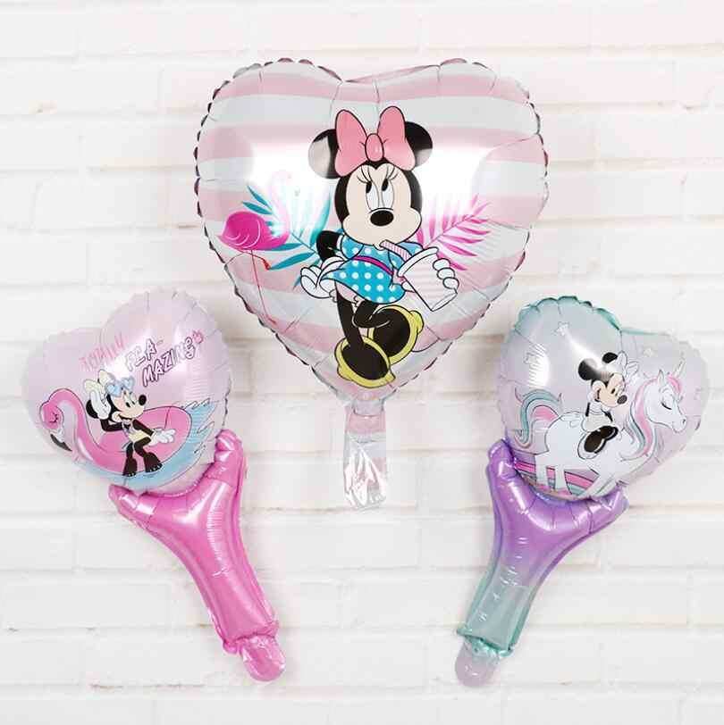 1 pçs/lote 18 polegada coração Mickey Minnie montando pônei bonito balão de alumínio para crianças festa de aniversário decoração do casamento suprimentos de ar bola