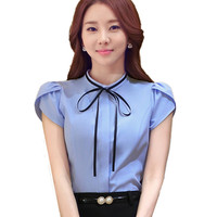 Office Shirts for Summer Ladies Blouse OL Style Women Tops Short Sleeve Clothes Bow Stand Collar Blusa Feminina Body Plus Sizes