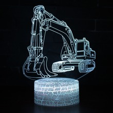 7 Colors Lamp 3D Excavator Visual Led Night Lights For Kids Touch Usb Table Lampara Lampe Baby Sleeping Nightlight Motion Light creative 7 color horse head lamp 3d visual led night lights for kids touch usb table lampe baby sleeping night light