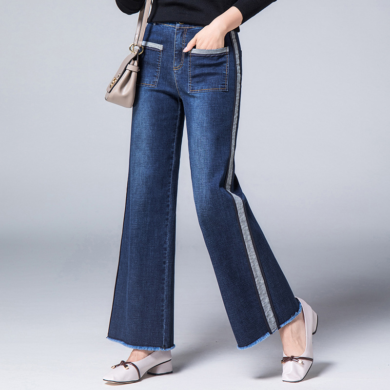 2018 New Female Fashion Straight Retro Jeans Women Side Stripe Slim Ankle Length Tassels Washed Big Pockets Autumn Winter Jeans