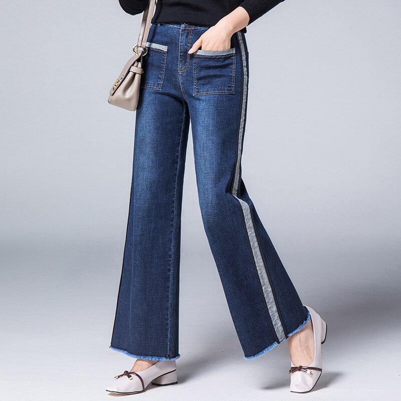 2018 Nieuwe Vrouwelijke Mode Straight Retro Jeans Vrouwen Side Streep Slanke Enkellange Kwasten Gewassen Grote Zakken Herfst Winter Jeans Mild En Mellow