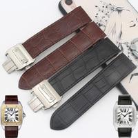 Men S Women S Mechanical Watch Accessories 20MM23MM Black Brown Watchbandfor SANTOS 100 W20126X8 W20073X8 Leather