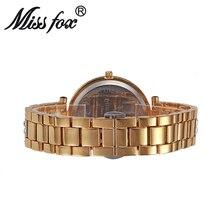 Miss Fox Women Quartz Watch Fashion Bling Casual Ladies Watch Female Quartz Gold Watch Crystal Diamond Leopard For Women Clock