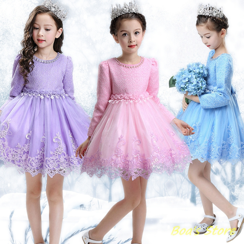 Baby Girls Red Pink Blue Long Sleeve Full Dress Ball Gown Flower Party Wedding Special Princess Kids Dresses For Girls Clothes baby girls red long sleeve full dress ball gown golden flower party wedding special princess kids dresses for girls clothes