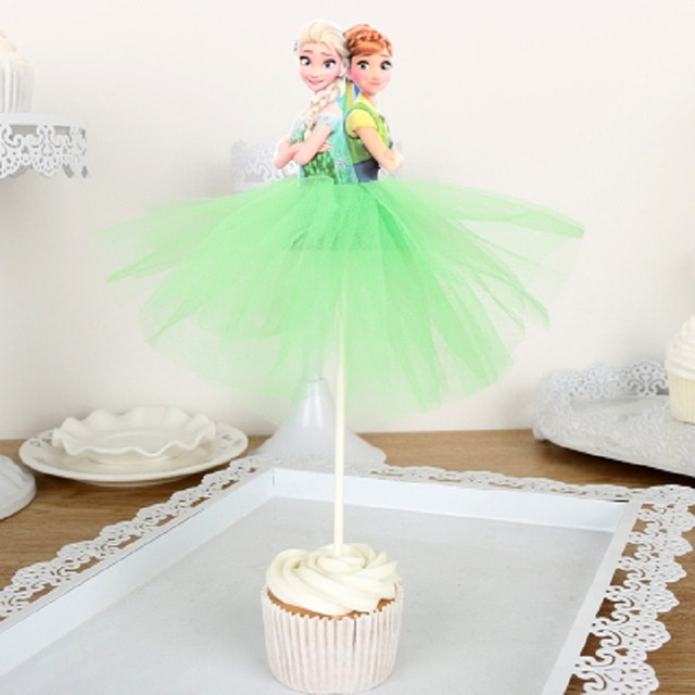 1pcs Snow Queen Elsa Dan Anna Cake Toppers Cupcake Accessory Tutu Table Party Supplies Birthday