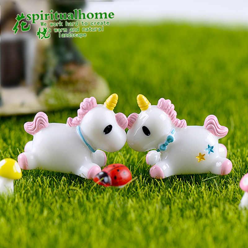 1 pcs mini 2 ซม. 1.5 ซม. rainbow unicorn สัตว์ miniature Garden อุปกรณ์เสริม modern pop miniature figurines fairy garden