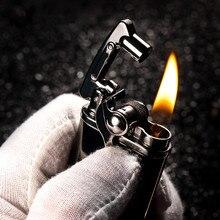 2018 עיצוב חדש Lighter סיגריה גלגל שחיקה גז שמן נפט קל הגאדג טים גברים רטרו בר מציתי סיגר טבק