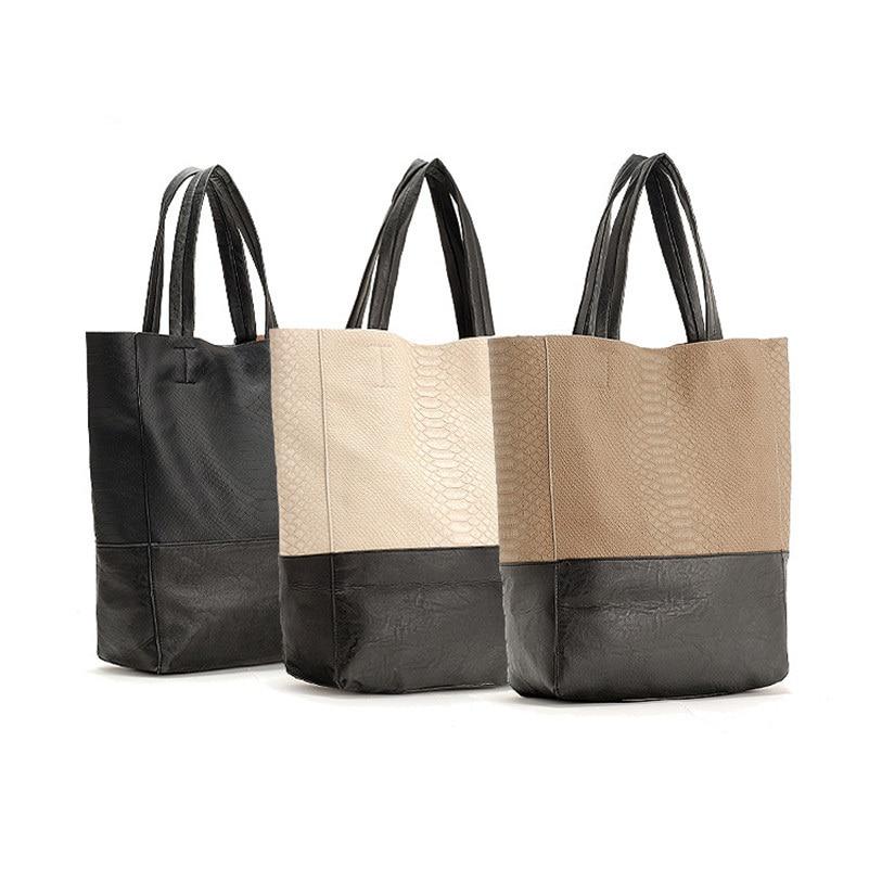 51717c3246 Hot Women Shoulder Bag Leather Composite Handbags 2015 Casual Women Purse  Beach Shopping Bag Bolsas Serpentine Women Shopper Bag