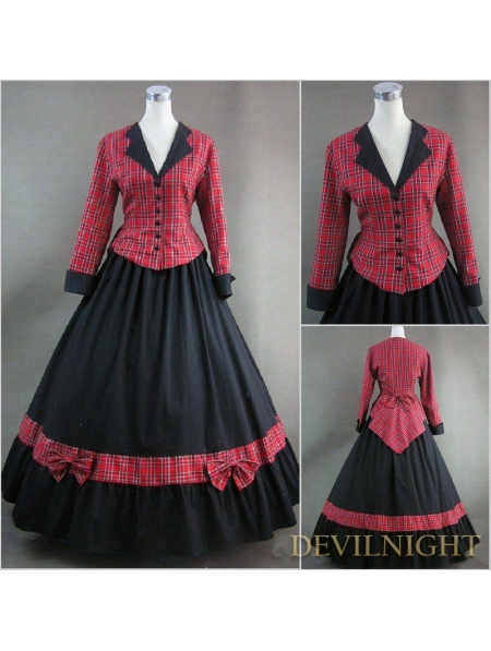 Благородный Черный и Красный Плед Урожай Готический Викторианской Платье Формы