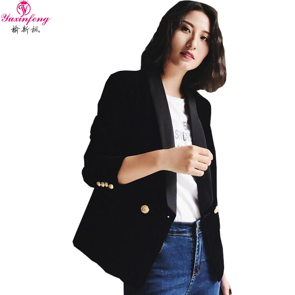 Yuxinfeng Spring Blue Velvet Blazer Women Button Doule Breasted Fashion Elegant Ladies Office Work Suit Blazer Coat Slim Jacket In Short Supply Blazers Suits & Sets