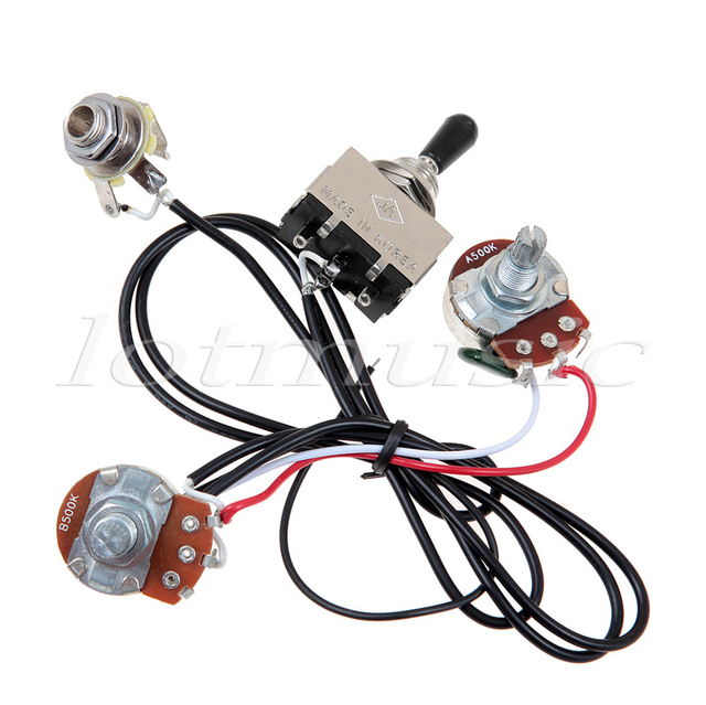 Electric Guitar Wiring Harness Prewired Kit 3 Way Toggle Switch 1 Volume 1 Tone 500K Pots_640x640 aliexpress com buy electric guitar wiring harness prewired kit 3 3 way toggle switch wiring at edmiracle.co