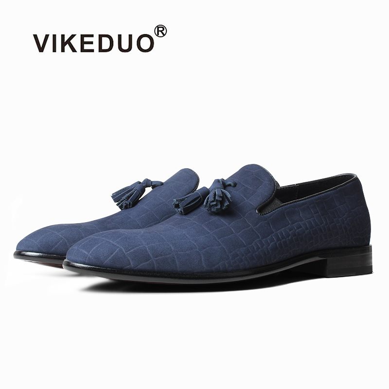 VIKEDUO Blue Crocodile embossing Loafers Genuine Matte leather Mans Footwear Slip-On Casual Men Shoes Driving Zapatos de Hombre