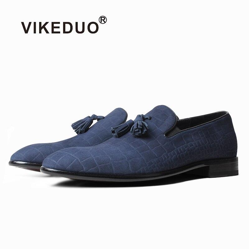 VIKEDUO bleu Crocodile gaufrage mocassins véritable en cuir mat articles chaussants pour hommes sans lacet chaussures hommes décontractées conduite Zapatos de Hombre