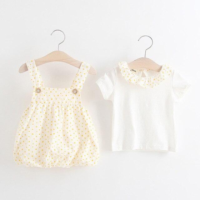 Новорожденных девочек одежда Хлопка комбинезоны Для Новорожденных девочек Футболка + Брюки Детская Одежда малышей одежда
