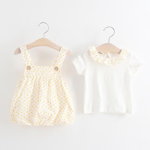 Bebé ropa de las muchachas overol de Algodón Para bebés Tshirt + Pantalones Ropa Infantil ropa del niño