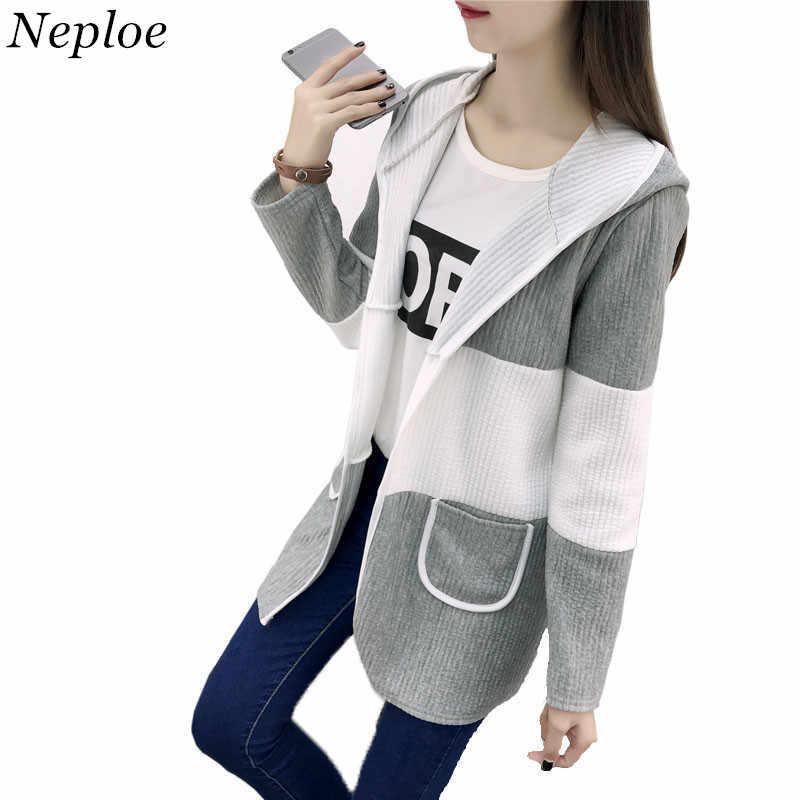 Neploe Long Hooded Coat 2018 Autumn Winter Long Sleeve Coats Contrast Color Outerwear Fashion Woman Wind Coat Cardigan 33938