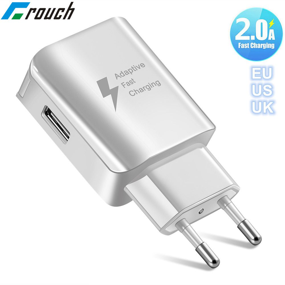 Crouch Universal Fast USB Charger EU US UK Plug Travel Wall Mobile Phone Charger Adapter For Samsung Xiaomi Huawei LG Microusb