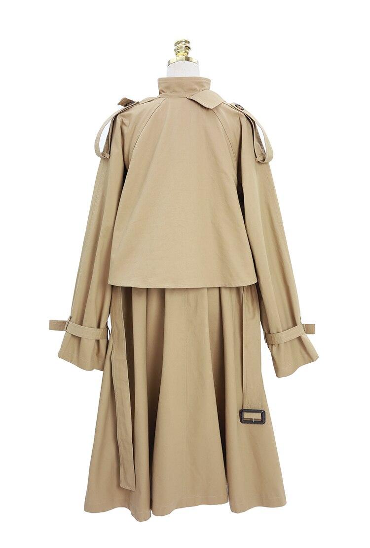 Automne Libre Q500 Grand Longue vent 2018 Khaki Trench coats Lâche Coupe Trench coat Vintage Grande Kaki Femmes Taille qwAE6POaP