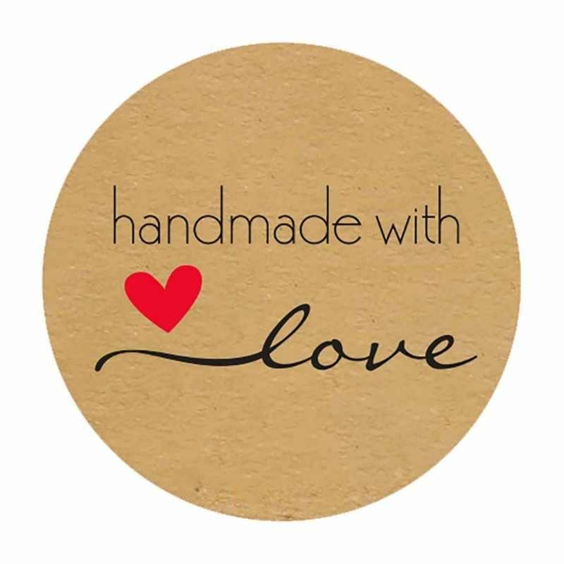 500pcs Polegada Rodada Kraft Natural Feito À Mão com Amor Adesivos obrigado adesivos para decoração do partido decoração de casamento Adesivos
