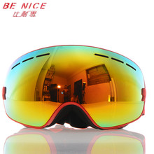 Benice double Anti-Fog Ski Goggles big spherical lens UV Protective esqui winter sports motocross Snowboard Skiing Eyewear 3100