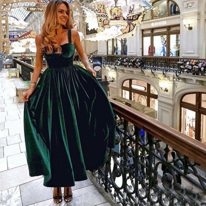 >Tea Length Dark Green <font><b>Prom</b></font> <font><b>Dresses</b></font> Spaghetti Straps Vestido De Festa Simple Formal Party Gowns Special Occasion <font><b>Prom</b></font> Gowns
