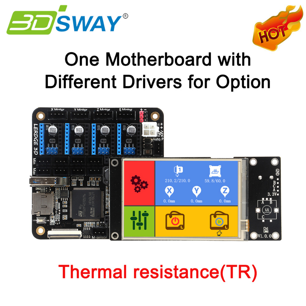 3DSWAY 3D Printer Motherboard Lerdge S Board with Thermistor ARM 32 bit Controller DIY Kit with