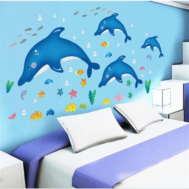 Large Dolphin Children S Cartoon Bathroom Glass Wall Stickers