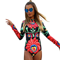 2017 fashion rompers womens jumpsuit Printed long sleeve women piece sexy slim bodysuit