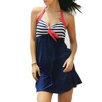 Newest Sexy Stripe Padded Halter Skirt Swimwear Women One Piece Swimsuit Beachwear Bathing Suit Swimwear Dress